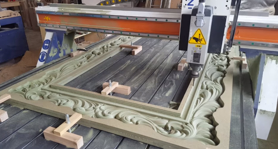 Making amazing large mirror frame with cnc machine for Making a large picture frame